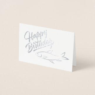 Cartão Metalizado Feliz aniversario - silhueta dos peixes -
