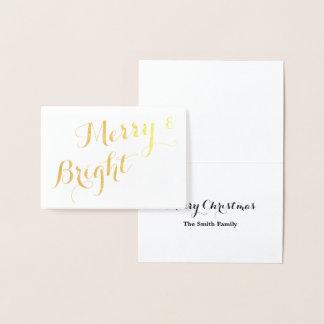 Cartão Metalizado Feliz do ouro e Natal brilhante
