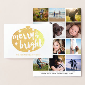 Cartão Metalizado Feliz dos enfeites de natal da folha de ouro &