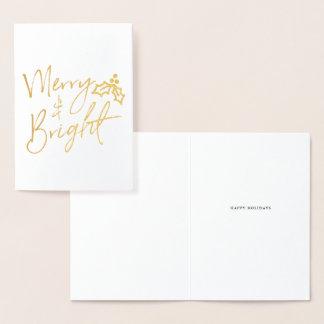 Cartão Metalizado Feliz escrita à mão & feriado brilhante do
