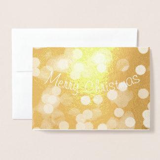 Cartão Metalizado Feliz Natal com luzes de Natal Sparkling