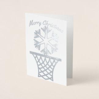 Cartão Metalizado Feliz Natal do Netball do floco de neve