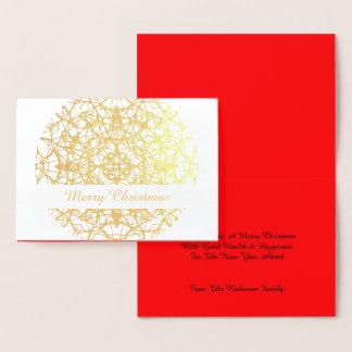 Cartão Metalizado Feliz Natal laçado bonito do círculo da flor