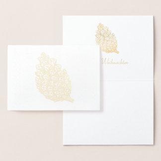 Cartão Metalizado Feliz Natal ouros Pine Cone II