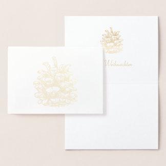Cartão Metalizado Feliz Natal ouros Pine Cone j