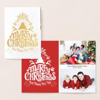 Cartão Metalizado Feliz Natal que rotula a foto de família da