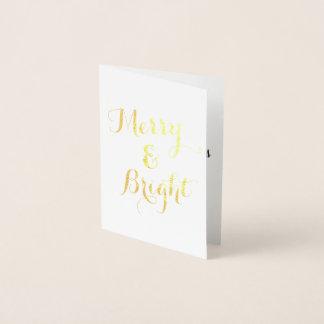 Cartão Metalizado Feliz vertical do ouro e Natal brilhante