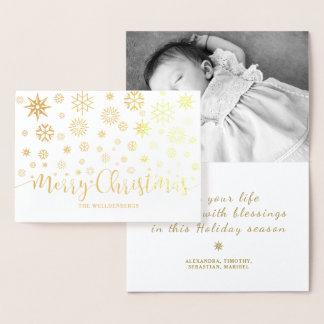 Cartão Metalizado Feriado dos flocos de neve do roteiro do Feliz
