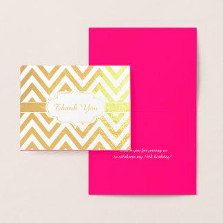 Cartão Metalizado Festa de aniversario de meninas de Chevron do rosa