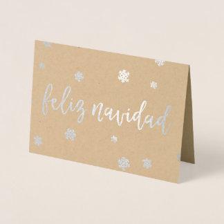 Cartão Metalizado Flocos de neve de Feliz Navidad