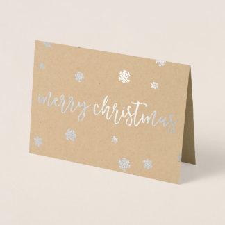 Cartão Metalizado Flocos de neve do Feliz Natal