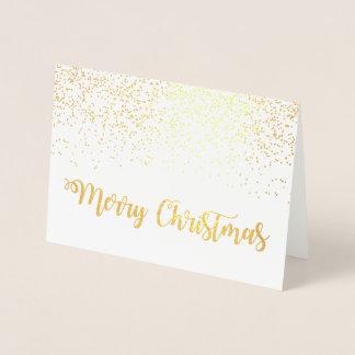 Cartão Metalizado Flocos de neve do roteiro da tipografia do Feliz