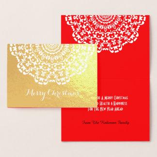 Cartão Metalizado Flor laçado bonito Feliz Natal modelado