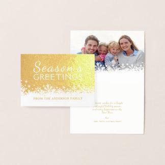 Cartão Metalizado Folha de ouro alegre do feriado do Natal dos