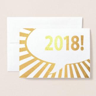Cartão Metalizado folha de ouro cómica da bolha 2018