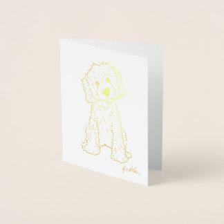 Cartão Metalizado Folha de ouro de KiniArt Goldendoodle