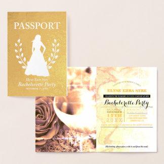 Cartão Metalizado Folha de ouro do passaporte da festa de solteira