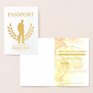 Cartão Metalizado Folha de ouro do passaporte do despedida de
