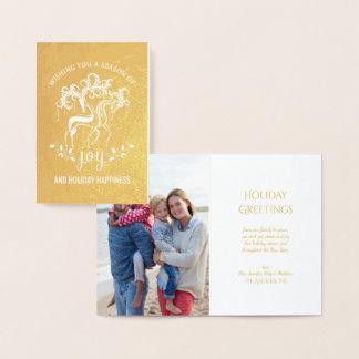 Cartão Metalizado Folha de ouro elegante da alegria do feriado do