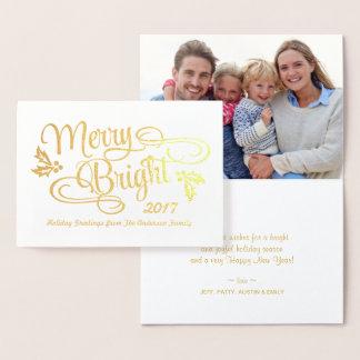 Cartão Metalizado Folha de ouro escrita à mão do Natal alegre e