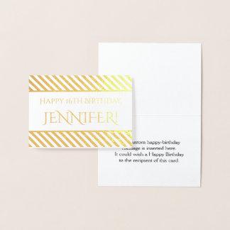 """Cartão Metalizado Folha de ouro listrada """"feliz aniversario,"""