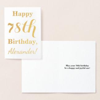 """Cartão Metalizado Folha de ouro simples """"78th ANIVERSÁRIO FELIZ"""" +"""