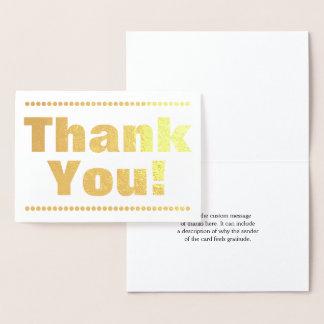 """Cartão Metalizado Folha de ouro simples personalizada """"obrigado"""