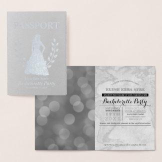 Cartão Metalizado Folha de prata do passaporte de Bachelorette