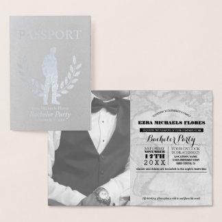 Cartão Metalizado Folha de prata do passaporte do despedida de