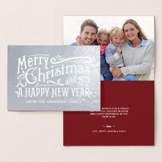 Cartão Metalizado Folha de prata do quadro do vintage do Feliz Natal