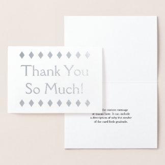 """Cartão Metalizado Folha de prata elegante """"obrigado você tanto!"""""""