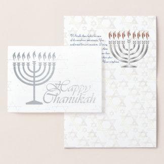 Cartão Metalizado Folha de prata feliz de Chanukah com bênção