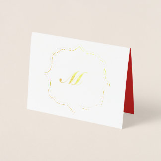 Cartão Metalizado Folha do costume do feriado do monograma