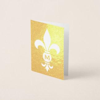 Cartão Metalizado Folha real minimalista elegante do monograma da