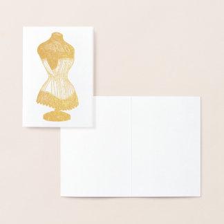 Cartão Metalizado Formulário do vestido do vintage com espartilho,