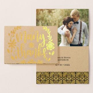 Cartão Metalizado Foto baseado num guião do casamento do texto da