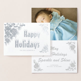 Cartão Metalizado Foto da folha de prata boas festas