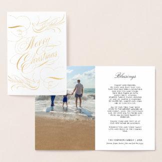 Cartão Metalizado Foto das pombas da caligrafia do Feliz Natal da
