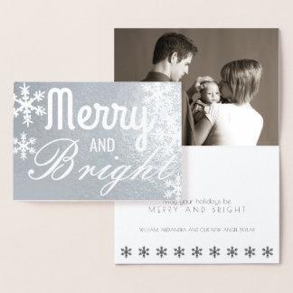 Cartão Metalizado Foto de prata alegre e brilhante do clássico do