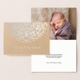 Cartão Metalizado Foto de prata bonito do Feliz Natal do floco de