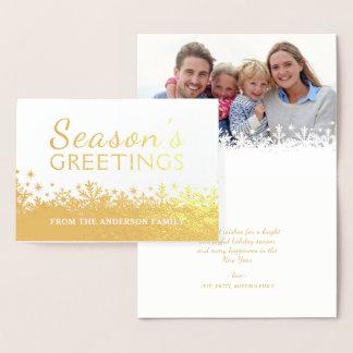 Cartão Metalizado Foto dourada da folha do feriado do Natal dos