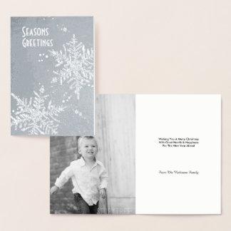 Cartão Metalizado Foto editável do Feliz Natal de prata do floco de
