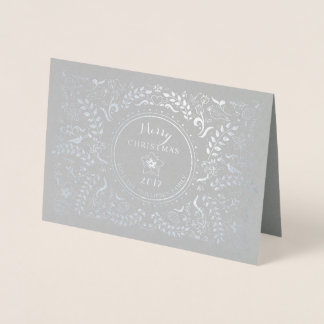 Cartão Metalizado Foto floral da arte popular do feriado de inverno