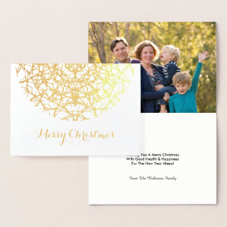 Cartão Metalizado Foto laçado bonito do Feliz Natal do floco de neve