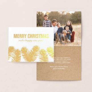 Cartão Metalizado Foto rústica da folha de ouro do Natal