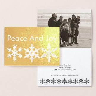 Cartão Metalizado Foto rústica moderna do ouro do floco de neve da