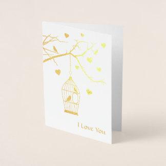 Cartão Metalizado Gaiola de pássaro e namorados dos corações