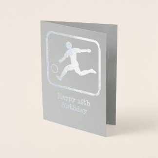 Cartão Metalizado Grevista com bola de futebol - texto e foto feitos