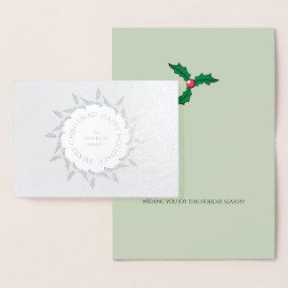 Cartão Metalizado Grinalda do azevinho do Natal personalizada