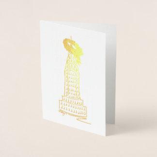 Cartão Metalizado Grinalda do feriado do arranha-céus do Natal NYC